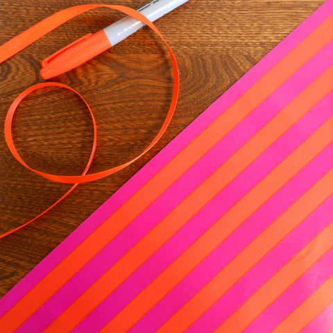vintage hot pink & bright orange striped gift wrap roll