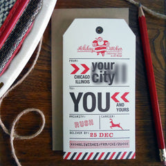 custom holiday city/state luggage tag- 48 minimum