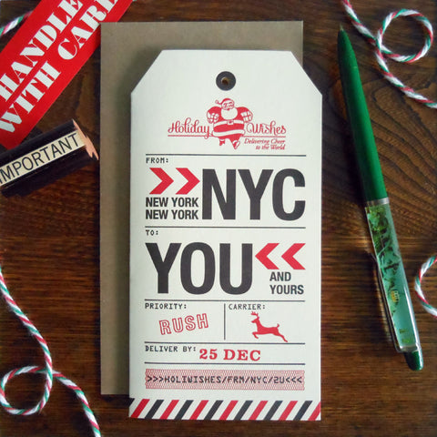 holiday new york city luggage tag
