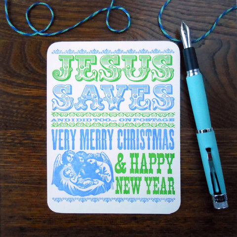 jesus saves postcard