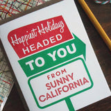holiday sunny california roadside sign