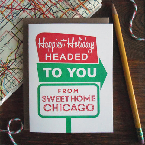 holiday sweet home chicago roadside sign