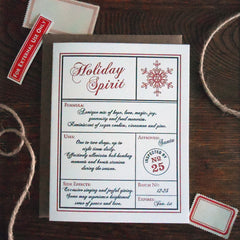 holiday spirit apothecary label