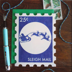 sleigh mail holiday stamp