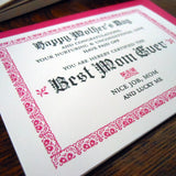 best mom ever certificate