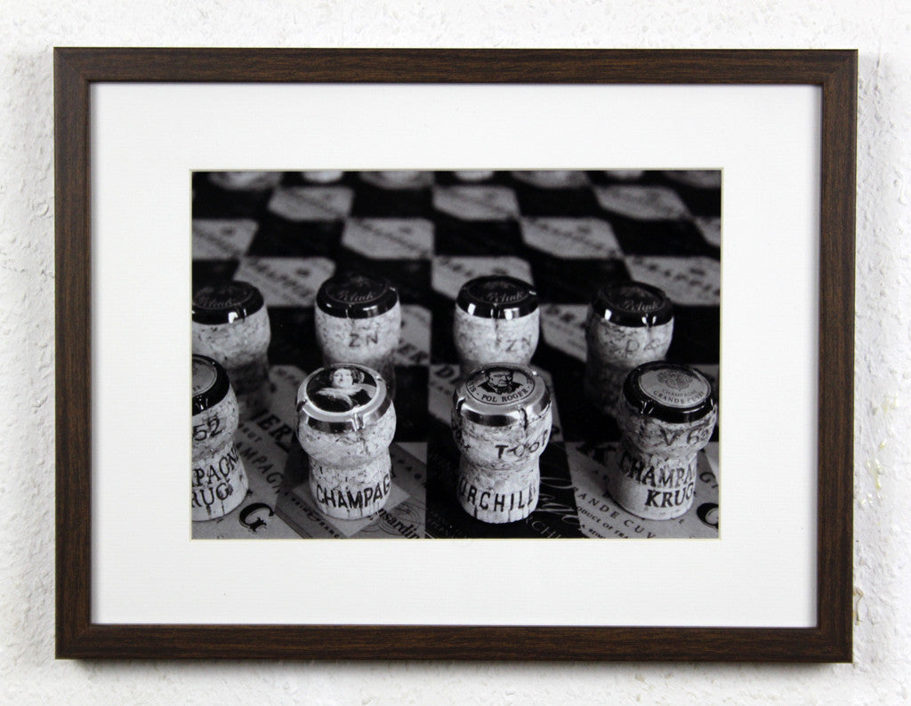 'Champagne Chess set' - Original Photography of a Chess set made from Champagne corks, Framed and mounted