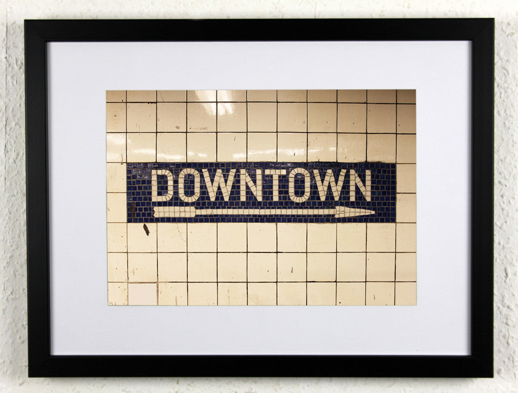 'DOWNTOWN' - Original New York City subway photography, framed