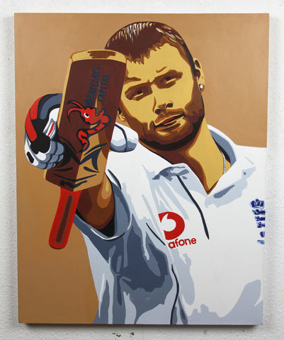 'Freddie' - Hand painted original Andrew Flintoff acrylic piece, Ashes Cricket 2005