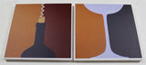 'Wine Service' - Print on 2 thick canvases, wine bottle and glass - Modern art (White Border)
