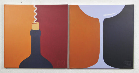 'Wine Service' - Print on 2 thin canvases, wine bottle and glass - Modern art