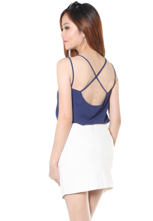 (50% OFF) TC ALLEY Drape Back Camisole (Navy Blue) (Size XS to L) - TUESDAY C.