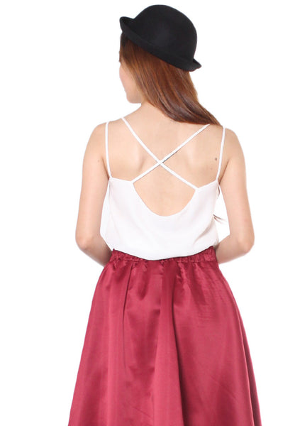 (50% OFF) TC ALLEY Drape Back Camisole (White) (Size XS to L) - TUESDAY C.