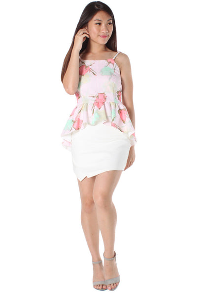Aurelia Floral Skirting Top (Pink) - Size S & M - TUESDAY C.