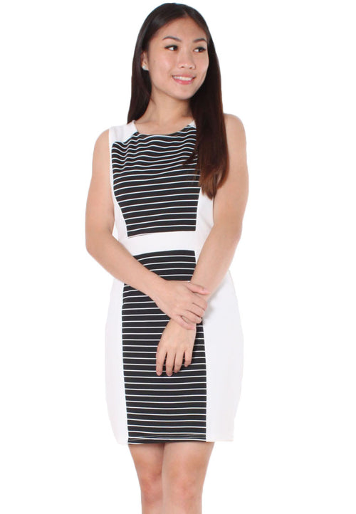 (20% OFF) ELLERY Stripes Pencil Dress (White) - TUESDAY C.