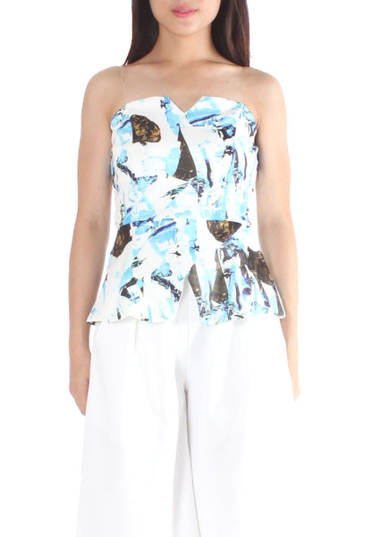 (30% OFF) Jayna Bustier Top (Floral/Blue) - Free Size - TUESDAY C.