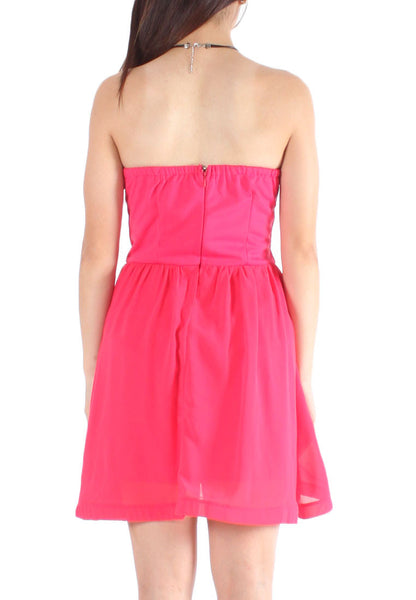 (50% OFF) Jaycie Sweetheart Layer Tube Dress (Pink) - Free Size - TUESDAY C.