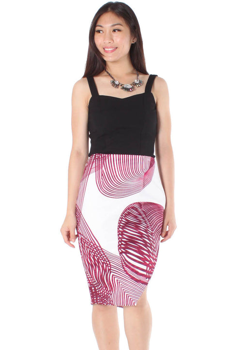 (20% OFF) Henna Spirograph Print Midi Skirt with Slit (Maroon) - Size S & M - TUESDAY C.
