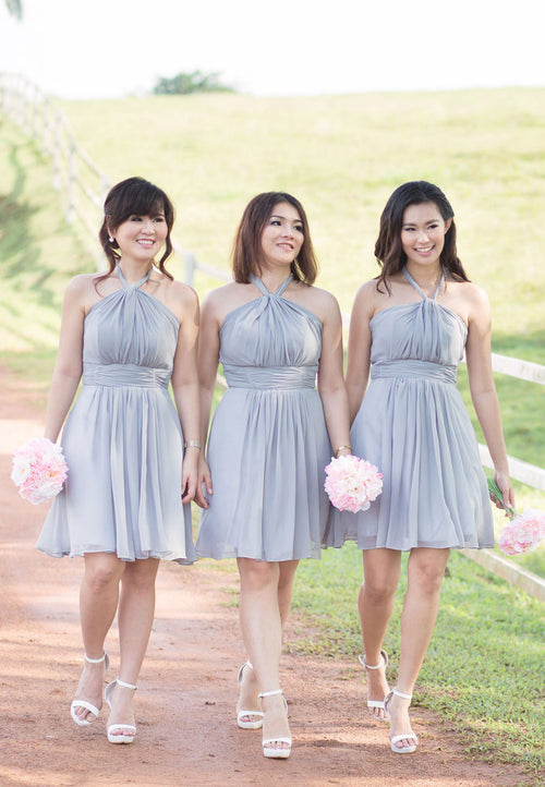 (20% OFF) TC Annabelle Halter Bridesmaid Dress (Grey) - Size XS to L - TUESDAY C.