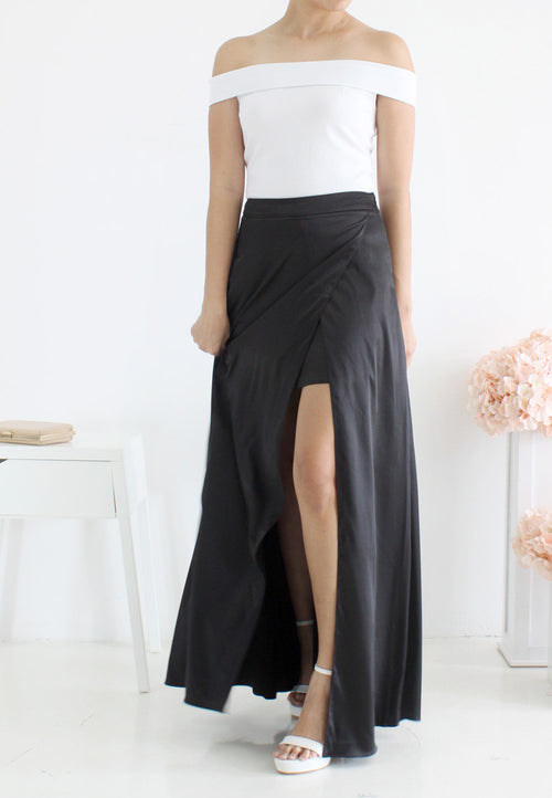 TC Xandra Maxi Slit Skirt (Black) - XS to L - TUESDAY C.