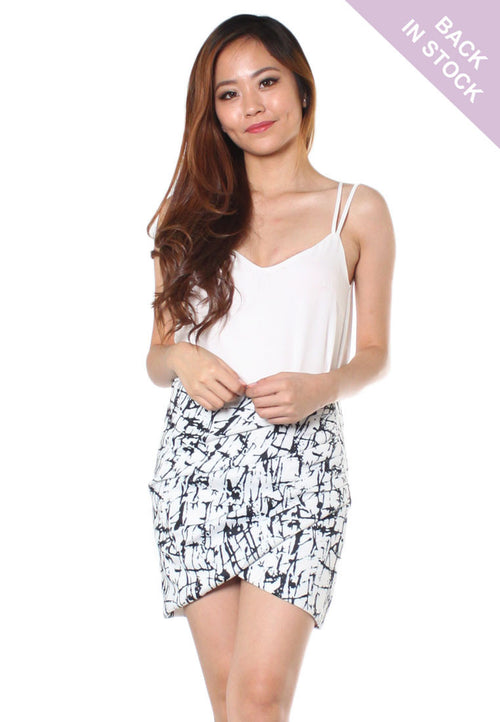 (30% OFF) TC MEGAN Marble Print Wrap Skirt (Size XS to L) - TUESDAY C.