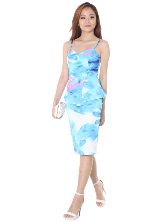 Odella Peplum Midi Dress (Blue) - Size S & M - TUESDAY C.