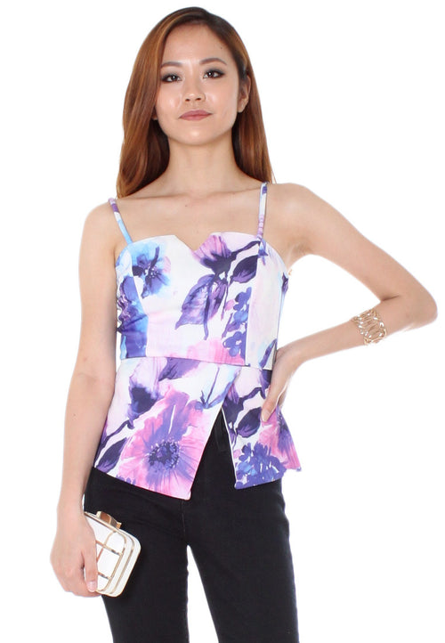 Rolanda Floral Watercolour Top (Purple/Blue) - Size S & M - TUESDAY C.