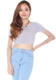 Tanya Knit Crop Top (Grey Lilac) - Free Size - TUESDAY C.