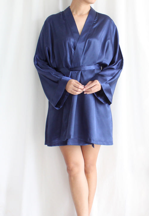 [BACKORDER] TC Lysa Kimono Robe (Navy Blue) - Free Size - TUESDAY C.