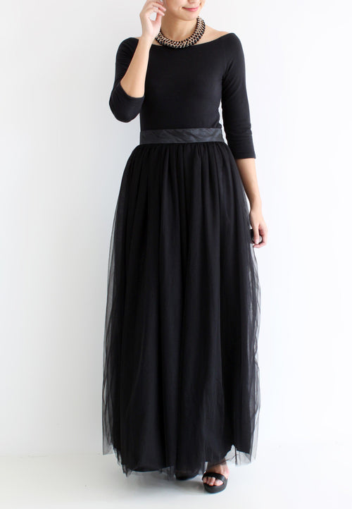 (20% OFF) TC Hertha Tulle Maxi Skirt (Black) - XS / S / M / L - TUESDAY C.