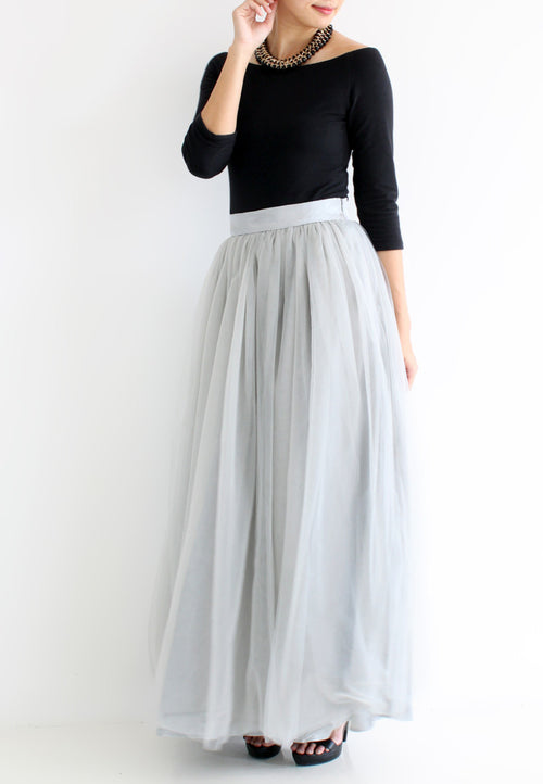 (20% OFF) TC Hertha Tulle Maxi Skirt (Grey) - XS / S / M / L - TUESDAY C.