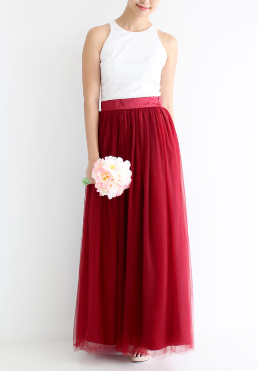 (20% OFF) TC Hertha Tulle Maxi Skirt (Maroon) - XS / S / M / L - TUESDAY C.