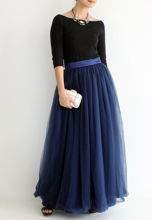(20% OFF) TC Hertha Tulle Maxi Skirt (Navy Blue) - XS / S / M / L - TUESDAY C.
