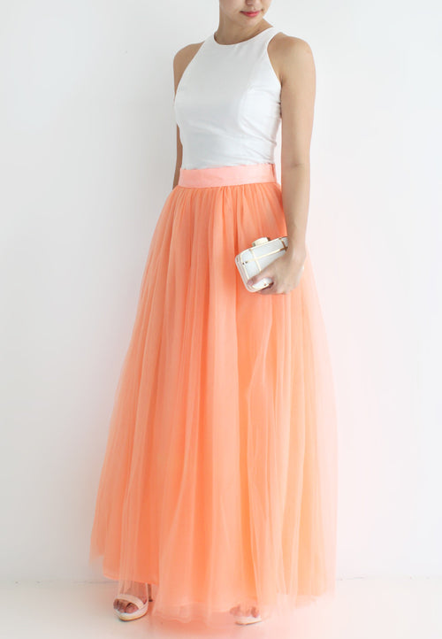 (20% OFF) TC Hertha Tulle Maxi Skirt (Orange) - XS / S / M / L - TUESDAY C.