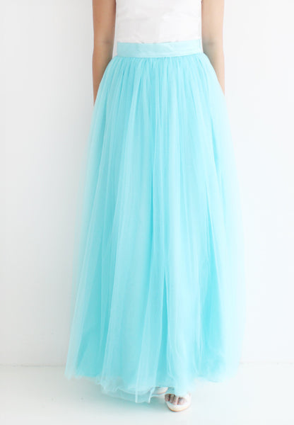 (20% OFF) TC Hertha Tulle Maxi Skirt (Tiffany Blue) - XS / S / M / L - TUESDAY C.