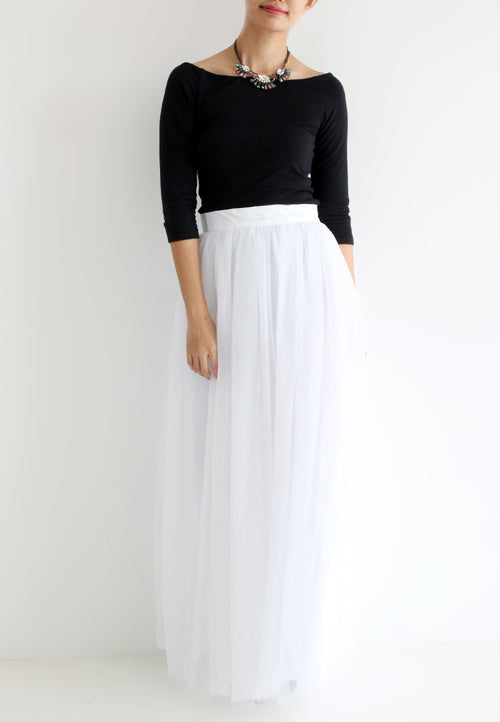 TC Hertha Tulle Maxi Skirt (White) - XS / S / M / L TUESDAY C. - TUESDAY C.