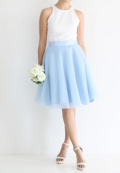 TC Iris Tulle Midi Skirt (Baby Blue) - XS / S / M / L - TUESDAY C.