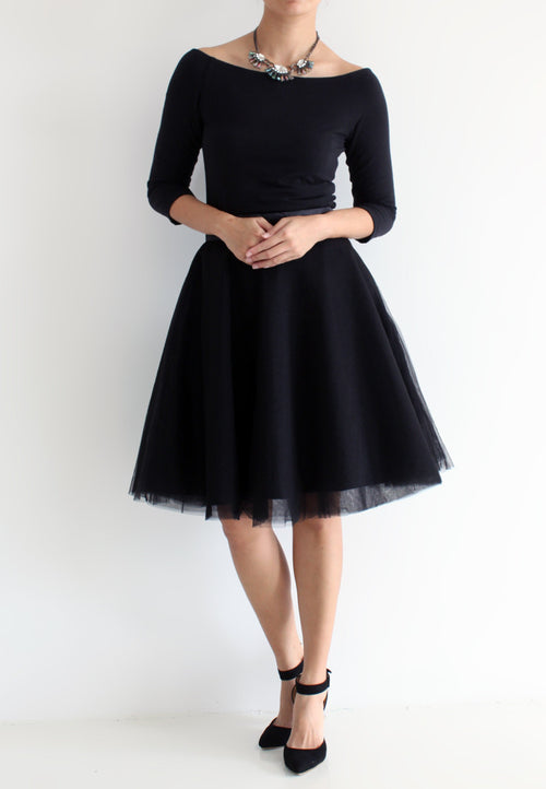TC Iris Tulle Midi Skirt (Black) - XS / S / M / L - TUESDAY C.