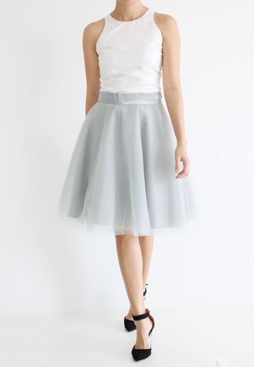[BACKORDER] TC Iris Tulle Midi Skirt (Grey) -  XS / S / M / L / XL - TUESDAY C.