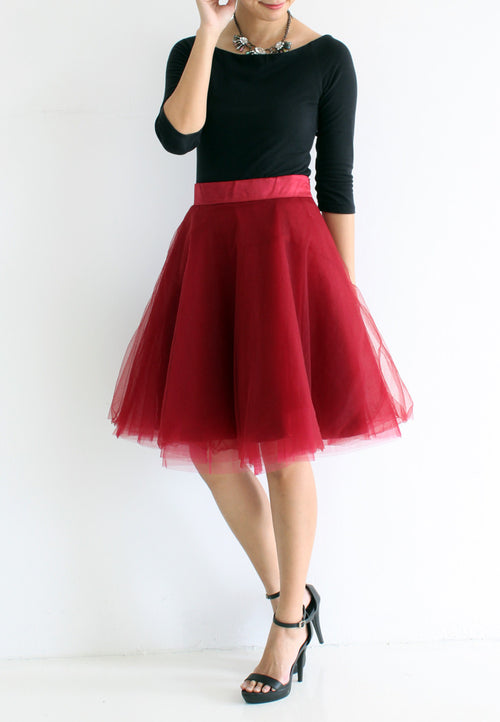 [BACKORDER] TC Iris Tulle Midi Skirt (Maroon) - XS / S / M / L / XL TUESDAY C. - TUESDAY C.