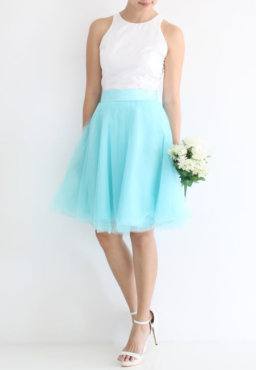 [BACKORDER] TC Iris Tulle Midi Skirt (Tiffany Blue) -  XS / S / M / L / XL - TUESDAY C.