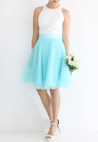 [BACKORDER] TC Iris Tulle Midi Skirt (Tiffany Blue) -  XS / S / M / L / XL TUESDAY C. - TUESDAY C.