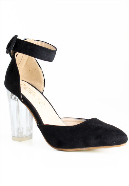 TC Victoria Suede Glass Heels (Black) - Size 34 to 38 - TUESDAY C.