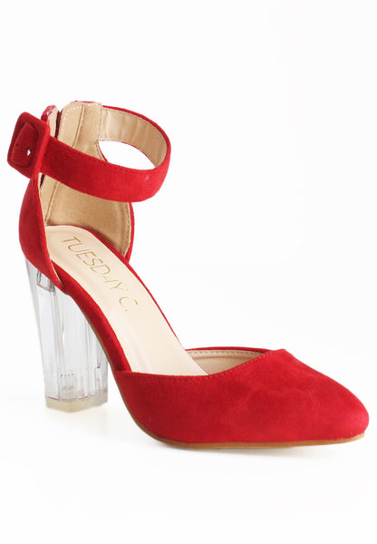 (20% OFF) TC Victoria Suede Glass Heels (Red) - Size 34 to 38 - TUESDAY C.