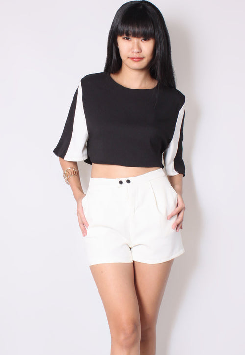 (30% OFF) CLAUDIA High Waisted Shorts (White) - TUESDAY C.