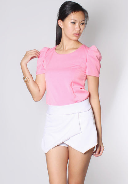 (50% OFF) ELLA Caped Sleeves Top (Pink) - TUESDAY C.