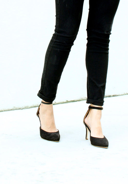 TC Elyssa Pointed Toe Ankle Strap Heels (Black) - 35 to 41 - TUESDAY C.