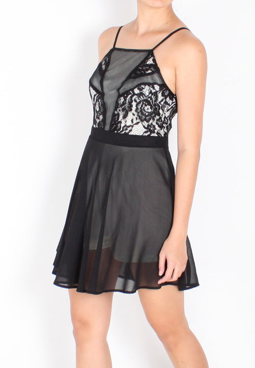 Halsey Halter Lace Romper (Black) - S / M - TUESDAY C.