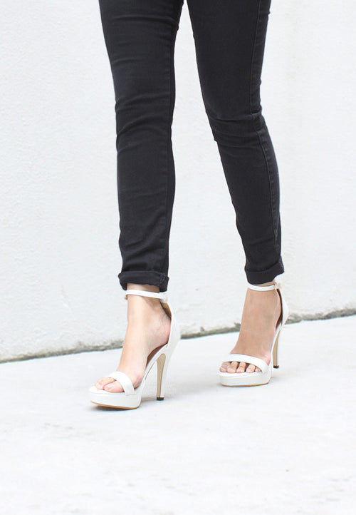 TC Kate Minimalist Strap Heels (White) - 35 to 41 - TUESDAY C.