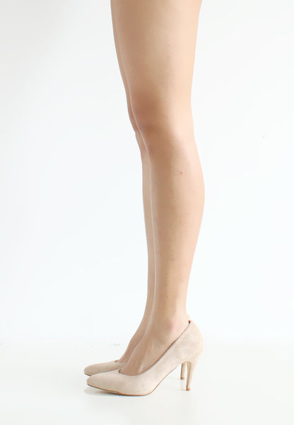 (20% OFF) TC Olivia Suede Pointed Toe Heels (Nude) - 35 to 40 - TUESDAY C.