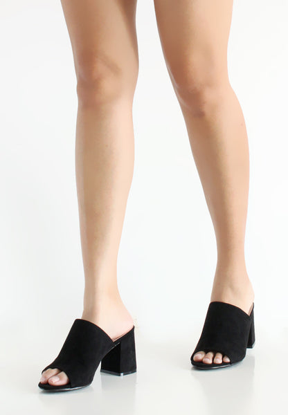 TC Taylor Suede Heeled Mules (Black) - 34 to 39 - TUESDAY C.